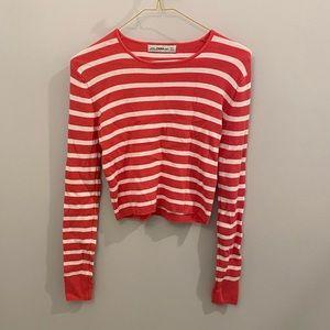 Zara Knit Pink&White Stripes Long Sleeve Crop Top